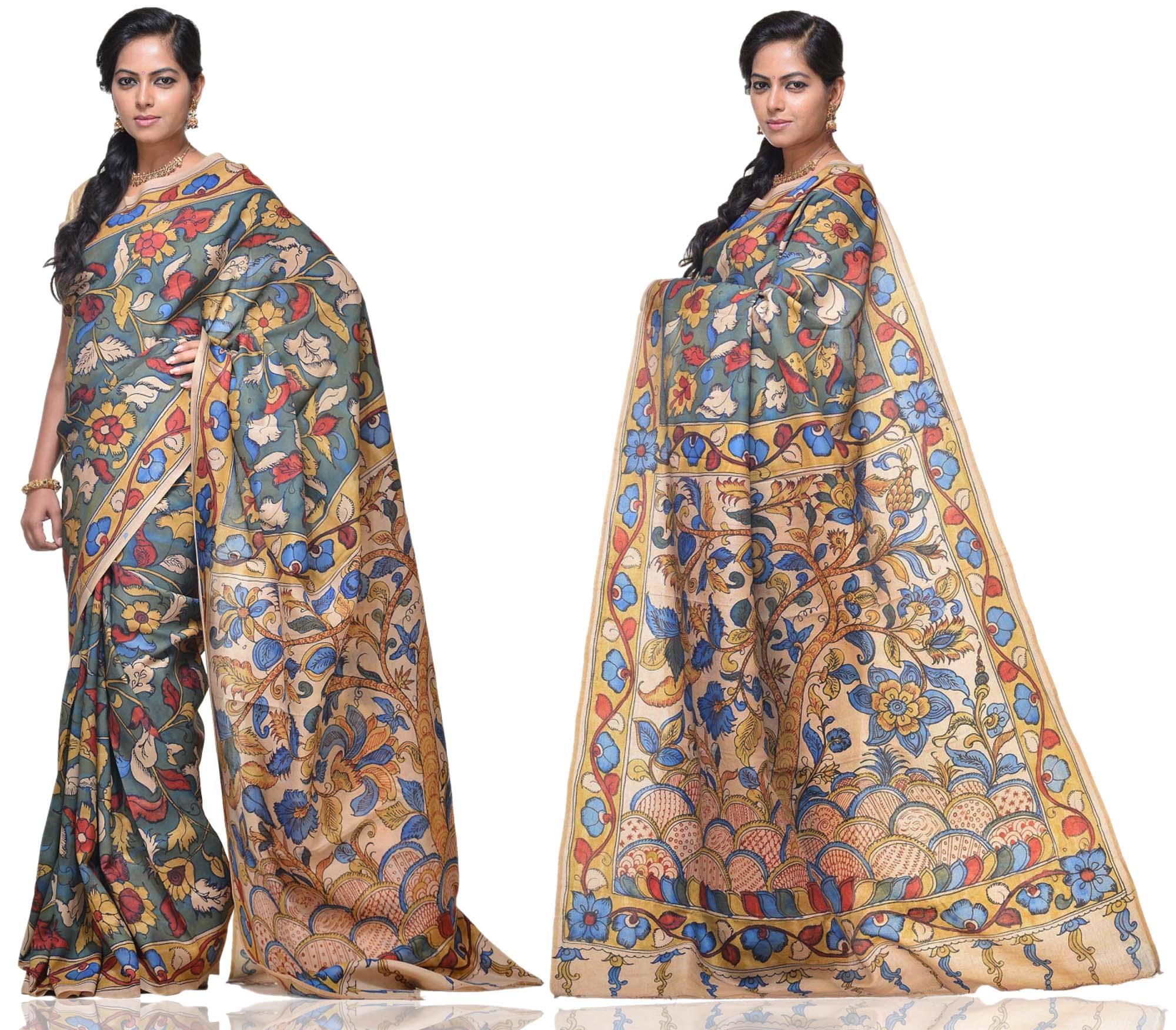 Price: - 15000 /-   New collections of Kalamkari sarees, kalamkari silk sarees, kalamkari cotton sarees, kalamkari cotton dress material, Kalamkari sarees. Sign up now for E-book you will be updated with latest collection of ethnic verities. For More Info Click on :- www.uppada.com  We manufacture of Uppada sarees, Paithani sarees, Banarasi sarees, Venkatagiri Sarees, Gadwal Sarees, Khadi sarees, Hand Painted Kalamkari Dupatta, Ikkat sarees, Kanchipuram Sarees, Atr Poly Silk Sarees, Dupattas, Stoles etc. For more info us at 040 64640303, 441905005.  Buy online: - uppada.com  - by Paithani, Hyderabad