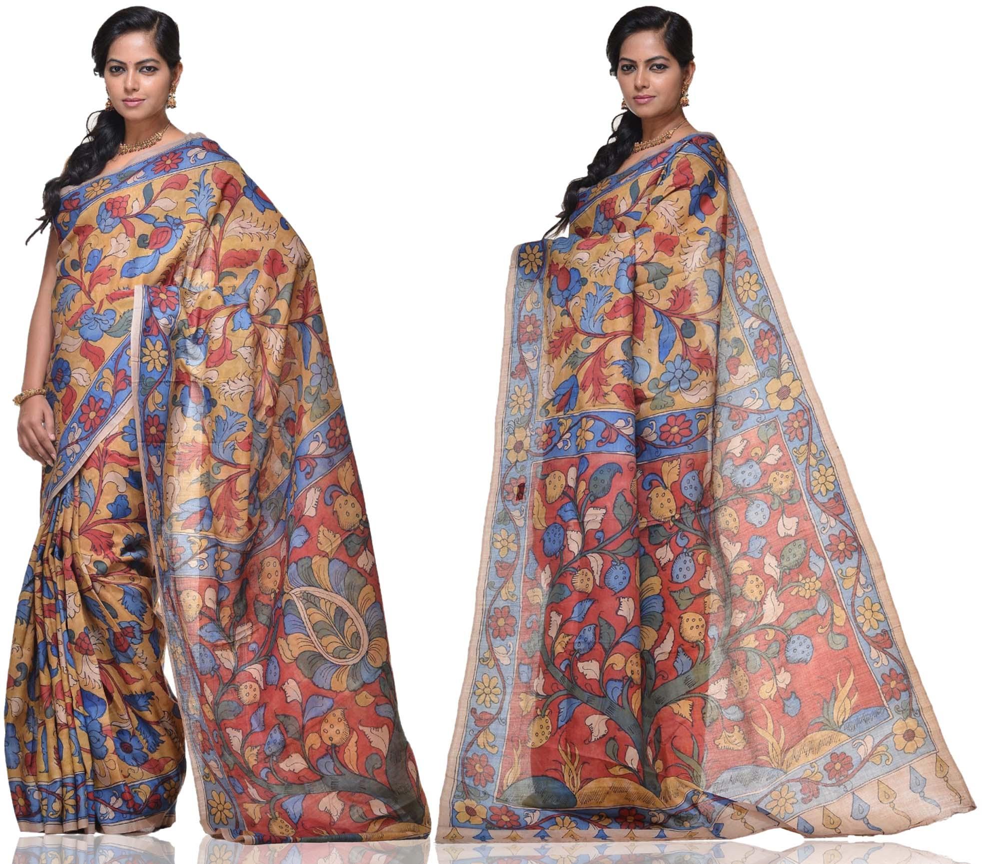 Price: - 15000 /-   New collections of Kalamkari sarees, kalamkari silk sarees, kalamkari cotton sarees, kalamkari cotton dress material, Kalamkari sarees. Sign up now for E-book you will be updated with latest collection of ethnic verities. For More Info Click on :- www.uppada.com  We manufacture of Uppada sarees, Paithani sarees, Banarasi sarees, Venkatagiri Sarees, Gadwal Sarees, Khadi sarees, Hand Painted Kalamkari Dupatta, Ikkat sarees, Kanchipuram Sarees, Dupattas, Stoles etc. For more info us at 040 64640303, 441905005.  Buy online: - uppada.com  - by Paithani, Hyderabad