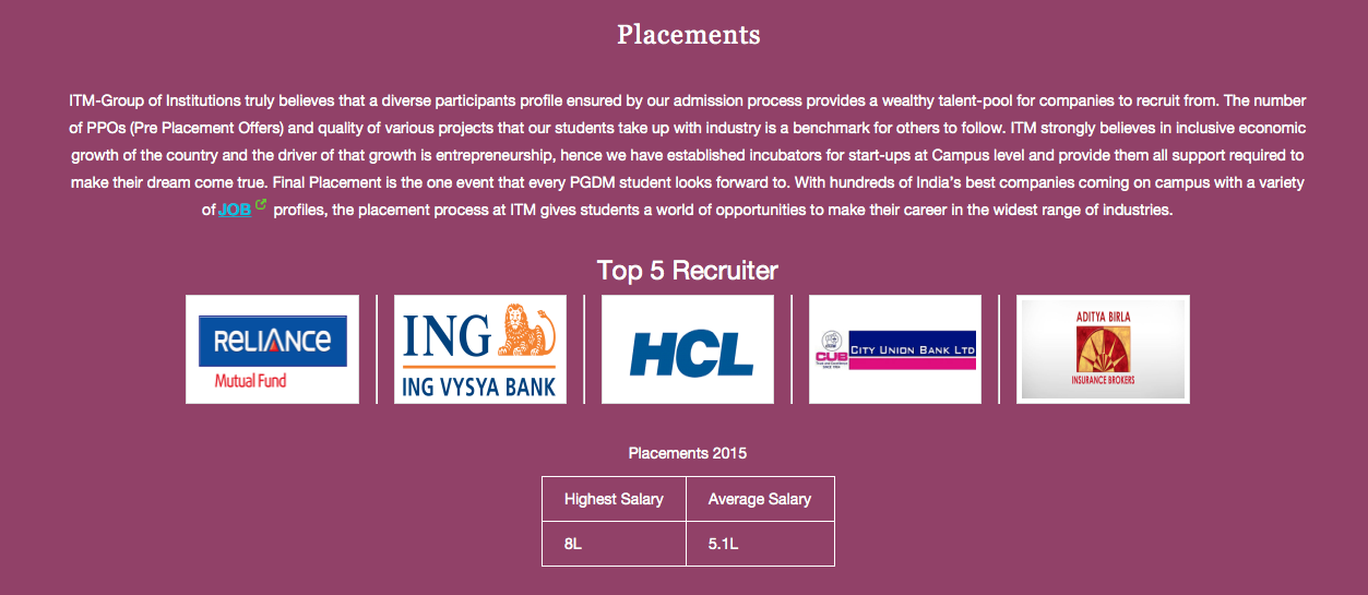 Placements in ITM B School - Chennai,
