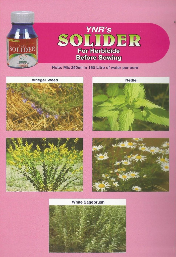 Solider  is a Organic pesticide it is used for Herbicide Before Sowing for all Crops