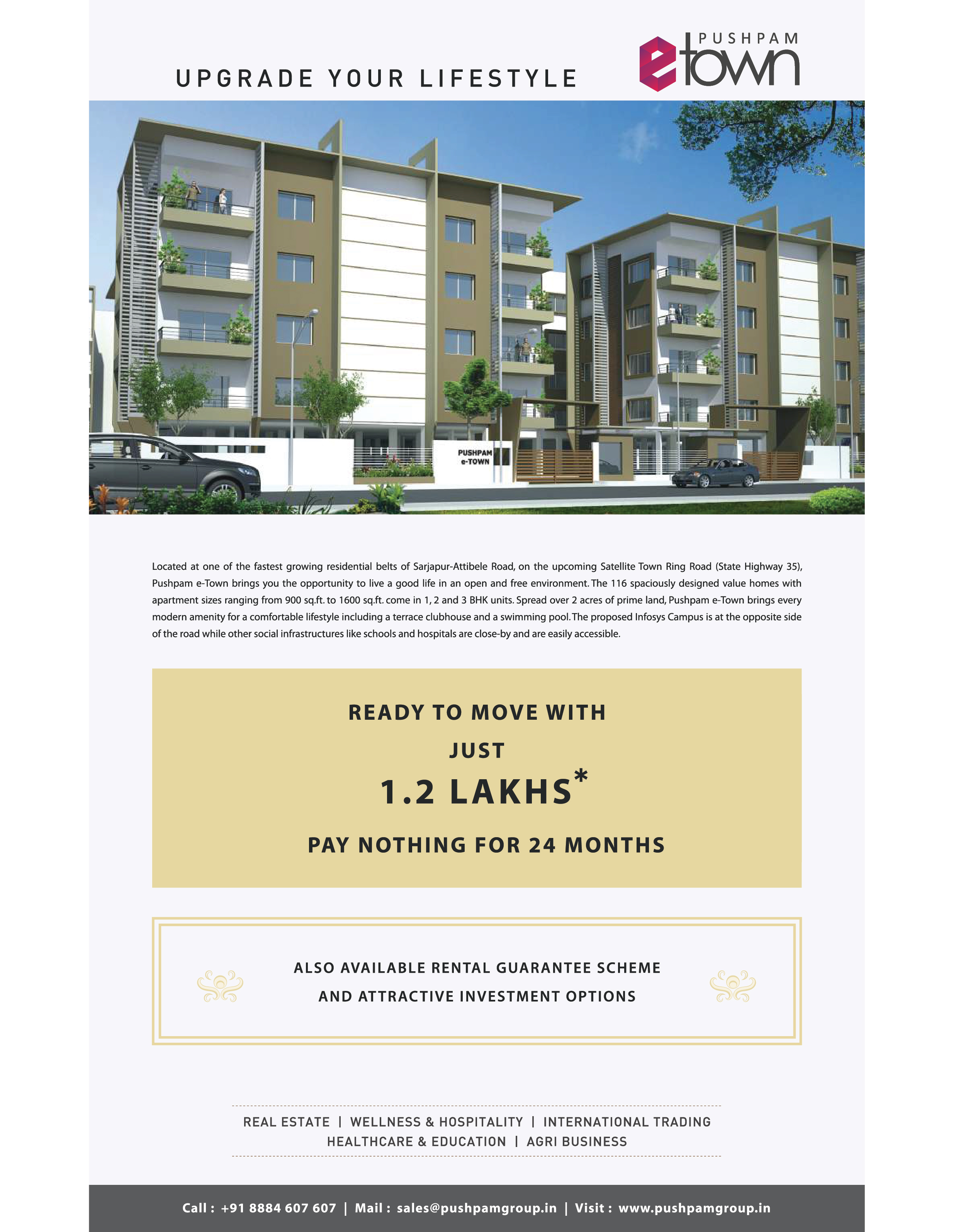 Flats for sale in sarjapur  116 units BMRDA approved property, G+3floor, with option of 1, 2 & 3bhk  in 2 acres of land with all  modern amenities.  http://www.pushpamgroup.in/projects/ongoing/pet_overview.html