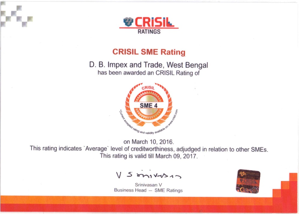 OUR CRISIL RATING CERTIFICATE