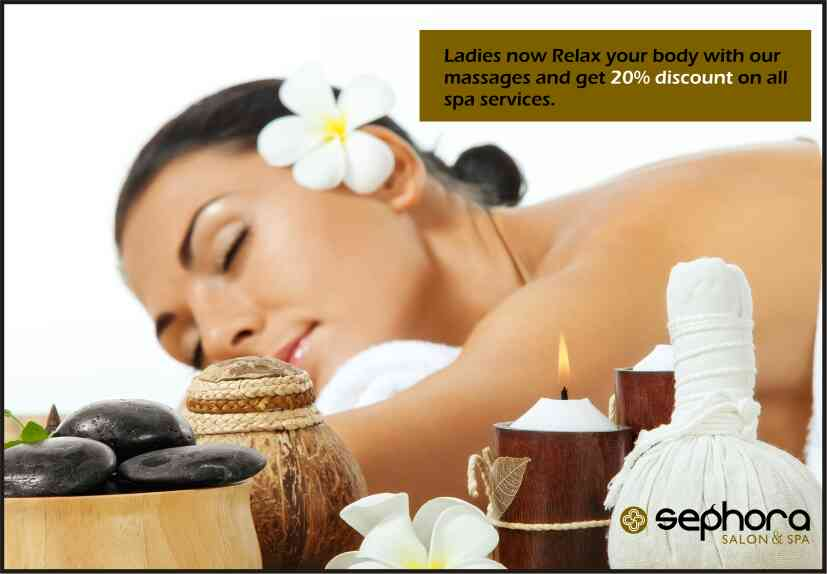 spa deals in goa  20% off on all spa services for ladies  http://www.sephorasalon.com/spa-massage.php