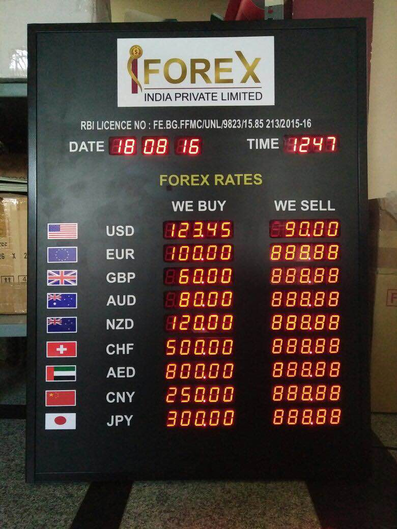 Foreign exchange rate display/currency rate display board Customer specification is taken as the at most priority while designing the board Easy setting  of rates by remotes Easy maintainable with low power consumption