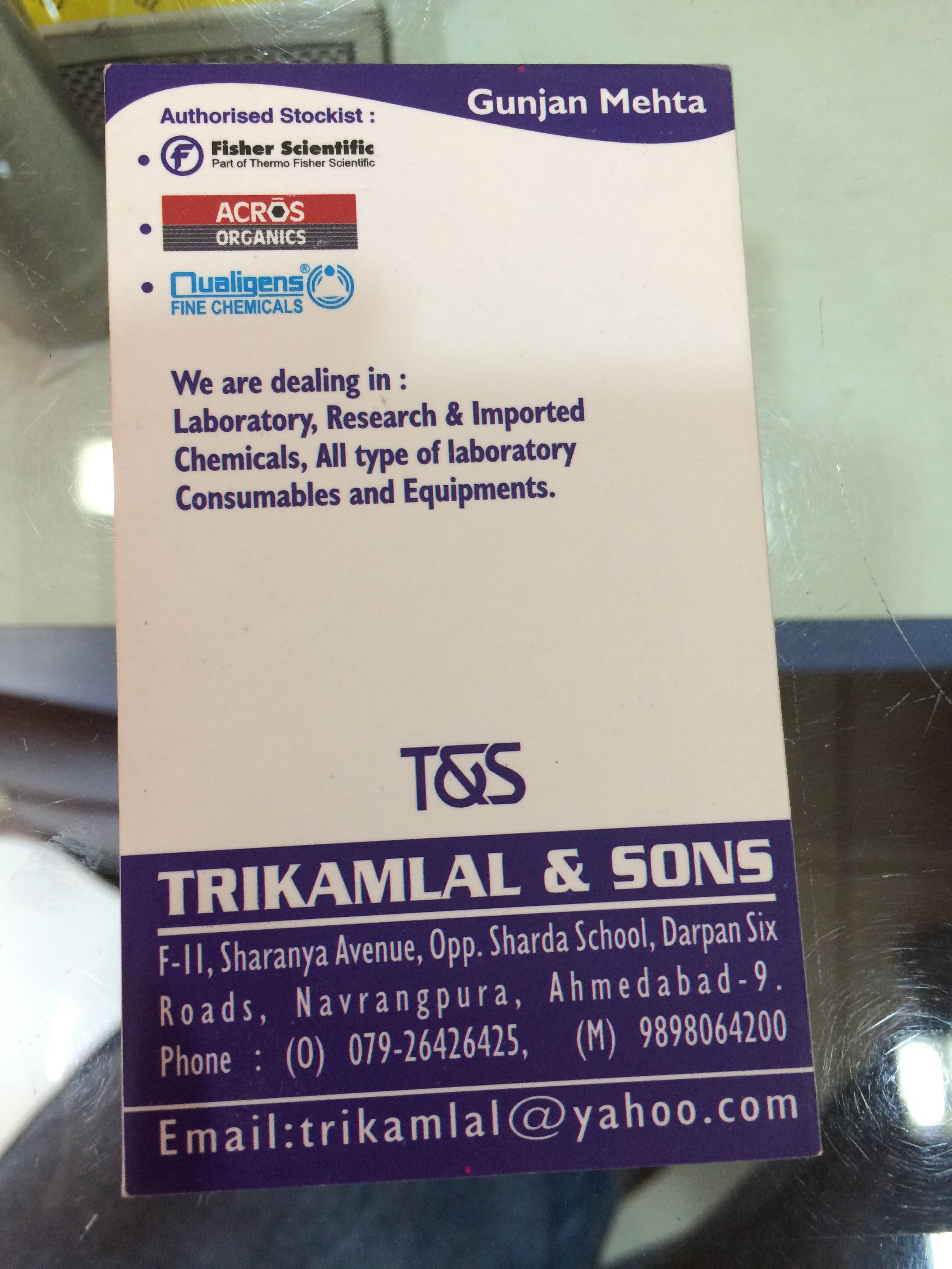 Trikamlal & Sons is dealing in laboratory , research & imported chemicals.