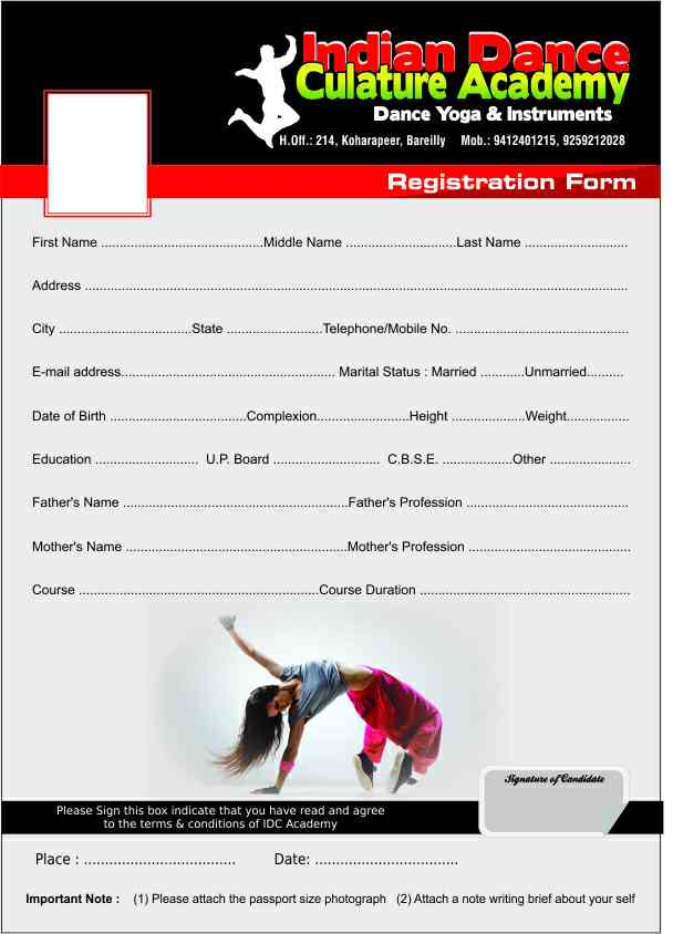 Download form to Join the Class   Choreographer  Ashu Indian