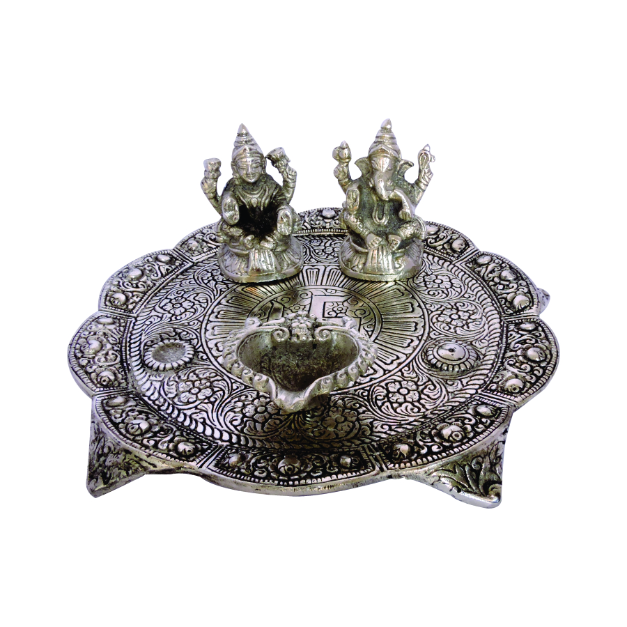 LAXMI GANESHA SILVER POOJA THALI is an Antique product for the worship to God which is made by the hands of the expert Artisan of Jaipur with Quality Embossed Carving. Laxmi Ganesha Silver Pooja Thali made of Oxidize metal in shape of Pooja Thali with Laxmi Ganesha Idol and Deepak which are hand Carved in Antique and Attractive Art Work and Finished with Quality Silver Polished which make this item highly valuable and use for decorative as well as gift purposes on festival time. We
