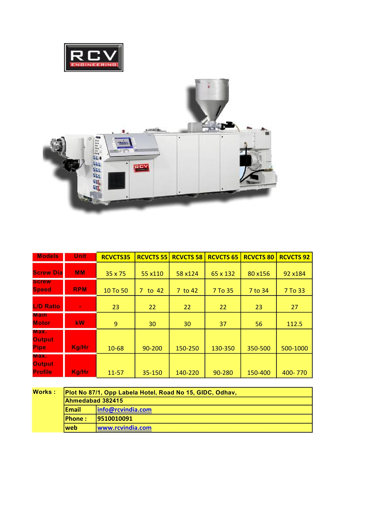 RCV Engineering is one of the leading manufacturers of Conical Twin Screw Extruders, cpvc Pipe Extruder, CPVC PIPE MACHINE, MAKE INI INDIA , for more details mail us on info@rcvindia.com
