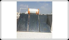 solar water heater manufacturer in Vadodara Gujarat. we are leading supplier in Surat Baruch Anand Gujarat.  The absorber consists of a thin absorber sheet (of thermally stable polymers, aluminum, steel or copper, to which a matte black or selective coating is applied) often backed by a grid or coil of fluid tubing placed in an insulated casing with a glass or polycarbonate cover. In water heat panels, fluid is usually circulated through tubing to transfer heat from the absorber to an insulated water tank. This may be achieved directly or through a heat exchanger. Most air heat fabricators and some water heat manufacturers have a completely flooded absorber consisting of two sheets of metal which the fluid passes between. Because the heat exchange area is greater they may be marginally more efficient than traditional absorbers.  As an alternative to metal collectors, new polymer flat plate collectors are now being produced in Europe. These may be wholly polymer, or they may include metal plates in front of freeze-tolerant water channels made of silicone rubber. Polymers, being flexible and therefore freeze-tolerant, are able to contain plain water instead of antifreeze, so that they may be plumbed directly into existing water tanks instead of needing to use heat exchangers which lower efficiency. By dispensing with a heat exchanger in these flat plate panels, temperatures need not be quite so high for the circulation system to be switched on, so such direct circulation panels, whether polymer or otherwise, can be more efficient, particularly at low light levels.  Some early selectively coated polymer collectors suffered from overheating when insulated, as stagnation temperatures can exceed the melting point of the polymer.[2][3] For example, the melting point of polypropylene is 160 °C (320 °F), while the stagnation temperature of insulated thermal collectors can exceed 180 °C (356 °F) if control strategies are not used. For this reason polypropylene is not often us