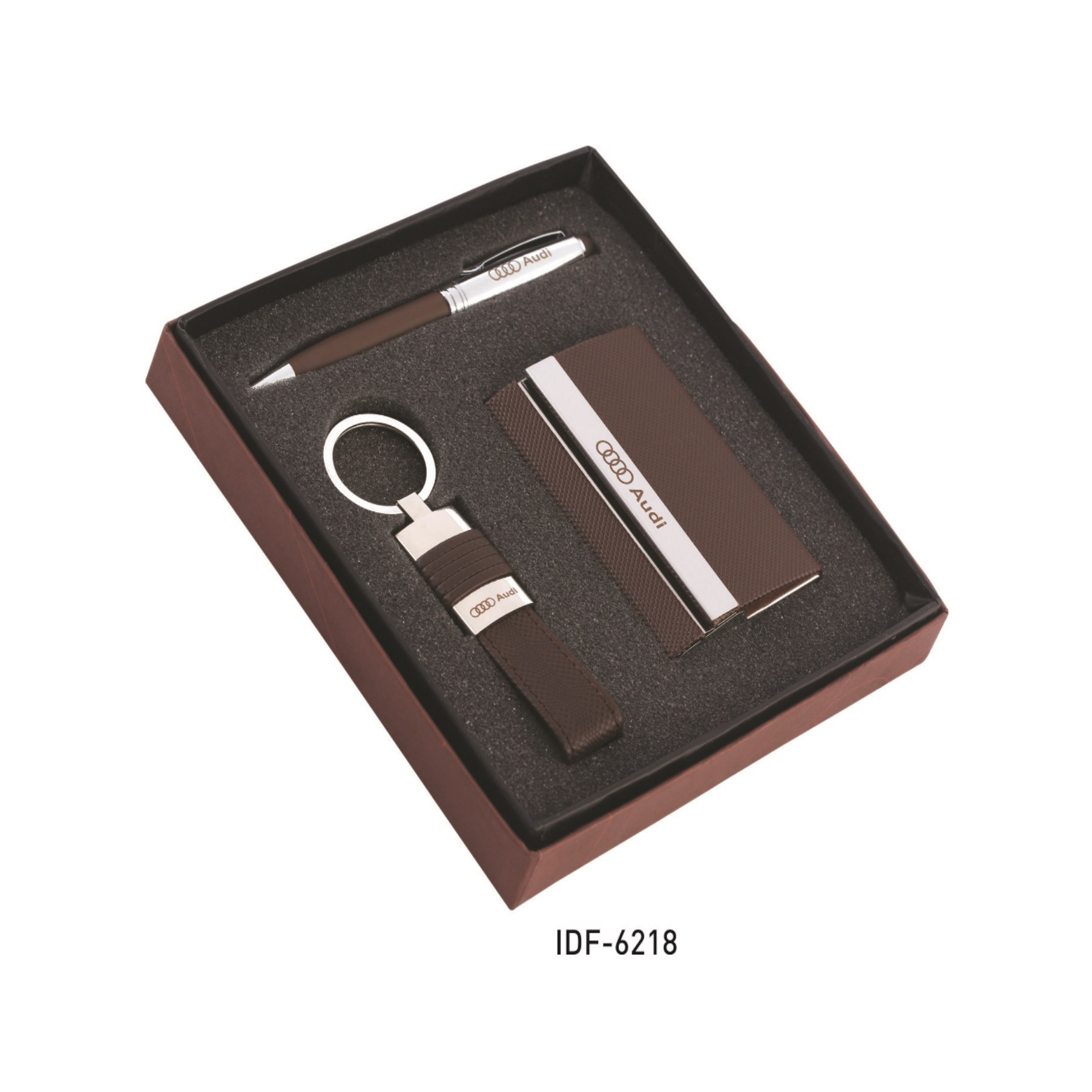 Gift Set Supplier In Coimbatore . gift set contains a Key chain, pen and a card holder, it can be customised your company logo or individual persons name. it is packed in a beautiful box packing.  Executive sets Personalised card holders pen with card holders