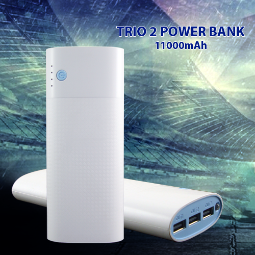 Trio 2 Power Bank 11000mAh  – 3 USB Out Port – Input: 5.0 – Output  : DC5V – LED  –   11000mAh Power Bank :Smooth varnish allows you to power            up in style