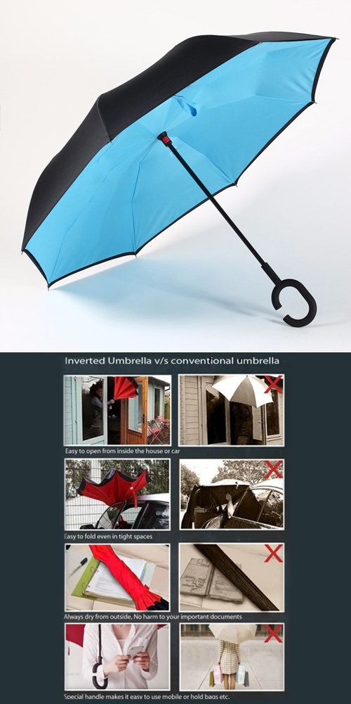 Inverted Umbrella with Handsfree Handle JFAE  • Innovative new design, solving all problems of traditional umbrellas • Inside-out design prevents water from dripping, keeping floors and cars dry • Unique design makes getting into and out of a car or home much easier while shielding you from the rain longer • When closed, its wet side is inside so outer side is always dry • Self standing design enables it to dry in a very little space • Special C shape handle makes you hands free for holding a baby, bag or mobile • Windproof: Works in strong wind also as it is already inverted