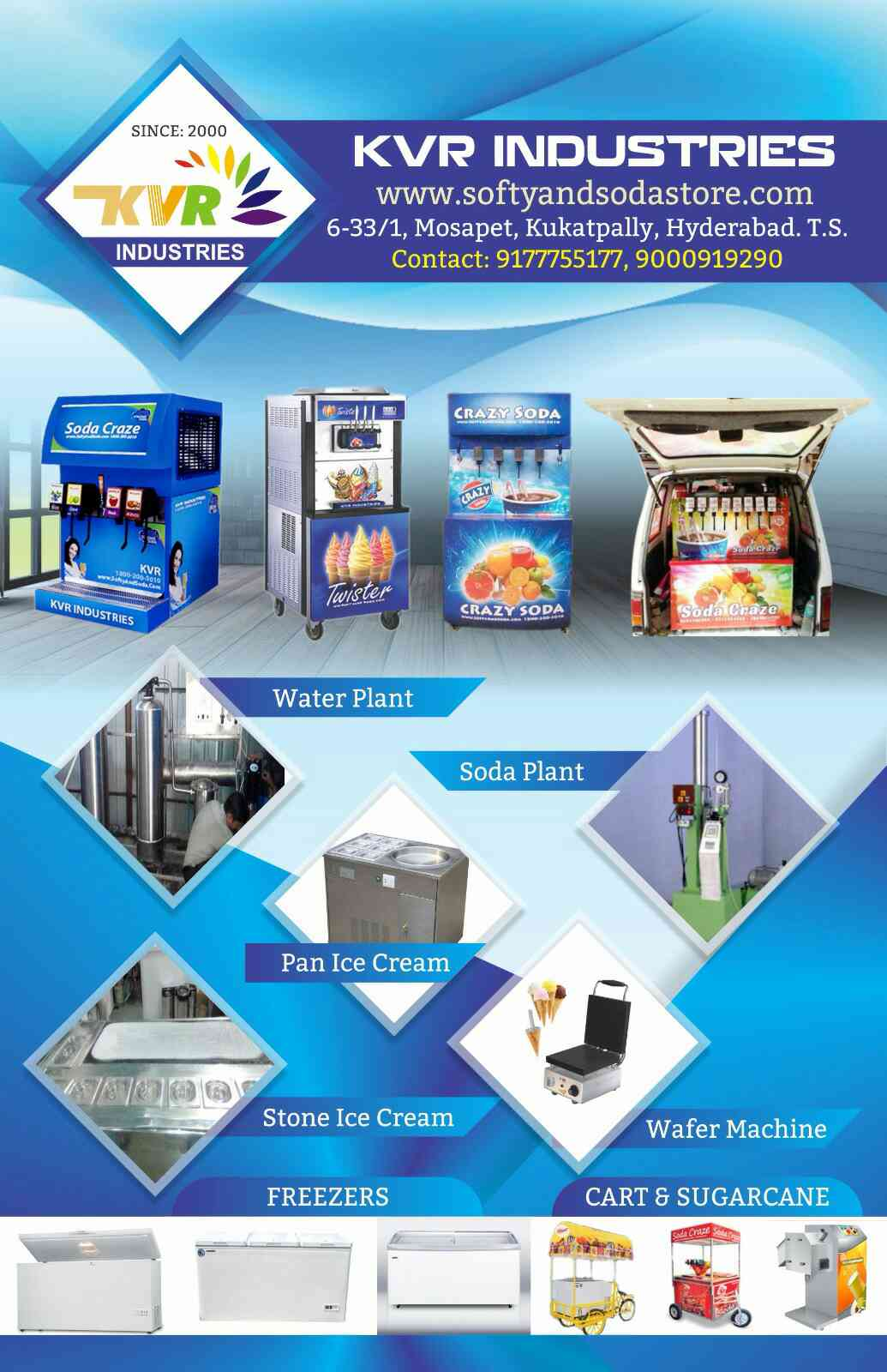 We are soda and Softy ice cream machine manufacturers from kvr