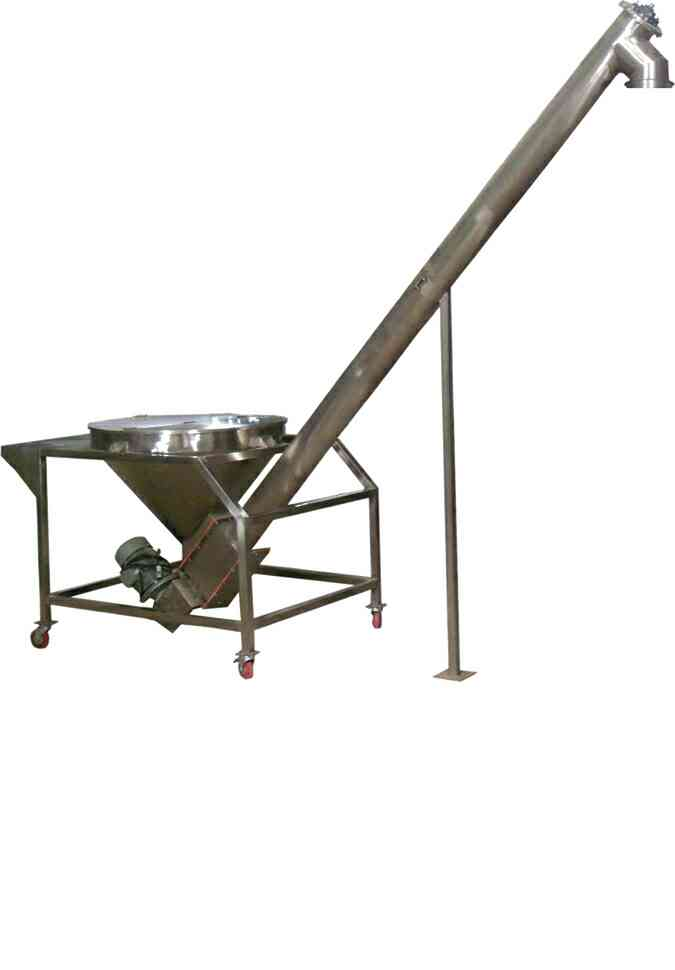 Inclined Screw Feeder   Suitable for Powder Product Feeding to VFFS Machine, Semi Automatic Auger Filler  Application:- For Feeding Powder Products such as Spice Powders, Atta, Besan, Maida, Pesticide Powders and other powders to VFFS Machine and Semi Automatic Auger Filler.  MOC:- Contact Parts SS 304 OR SS316.  Power Supply:-3 Ph, 415 VAC, 50 Hz  Features:-Can be synchronised with VFFS Machine OR Semi Automatic Auger Filler.