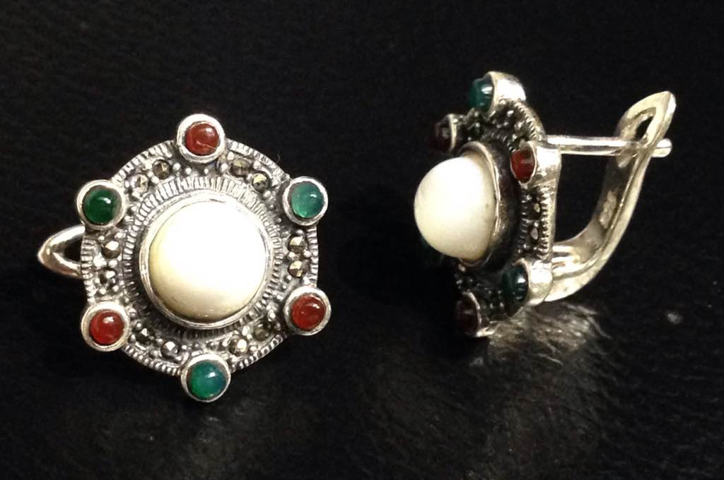 Mother-of-Pearl Earrings with multi coloured onyx and Marcasite stones in sterling silver