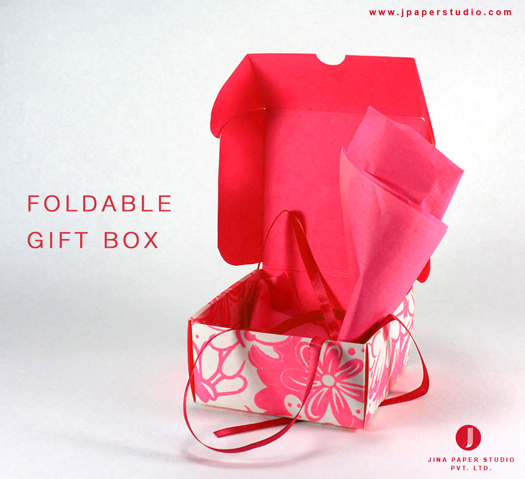 FOLDABLE GIFT BOX  Paper is in...Just use as you feel like, fold it if you want to store or just dispose it. These beautifully printed Gift Boxes would serve all your gifting purpose. Feasible to use for cakes, bakery stuff, candies, chocolates, sweets, etc. These are completely organic, eco-friendly & completely user oriented.  The prints are ravishing so just give us a chance to make your festivities glare...