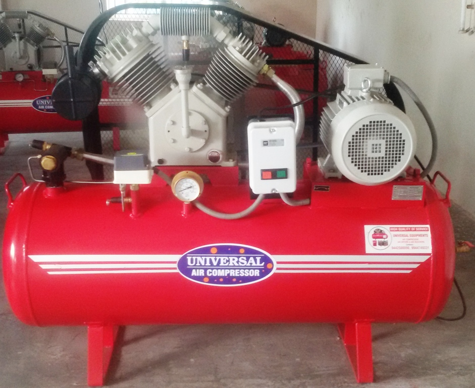 TC 600 Model, 7.5 hp Motor, 320 liters Air Receiver Tank working pressure 12 kg Working pressure Industrial Air Compressor. Used for more than 2 or 3 Garments machines, Water filling machines, 2 or 3 Pneumatic Packing machines, Normal Knitting machine and so on.