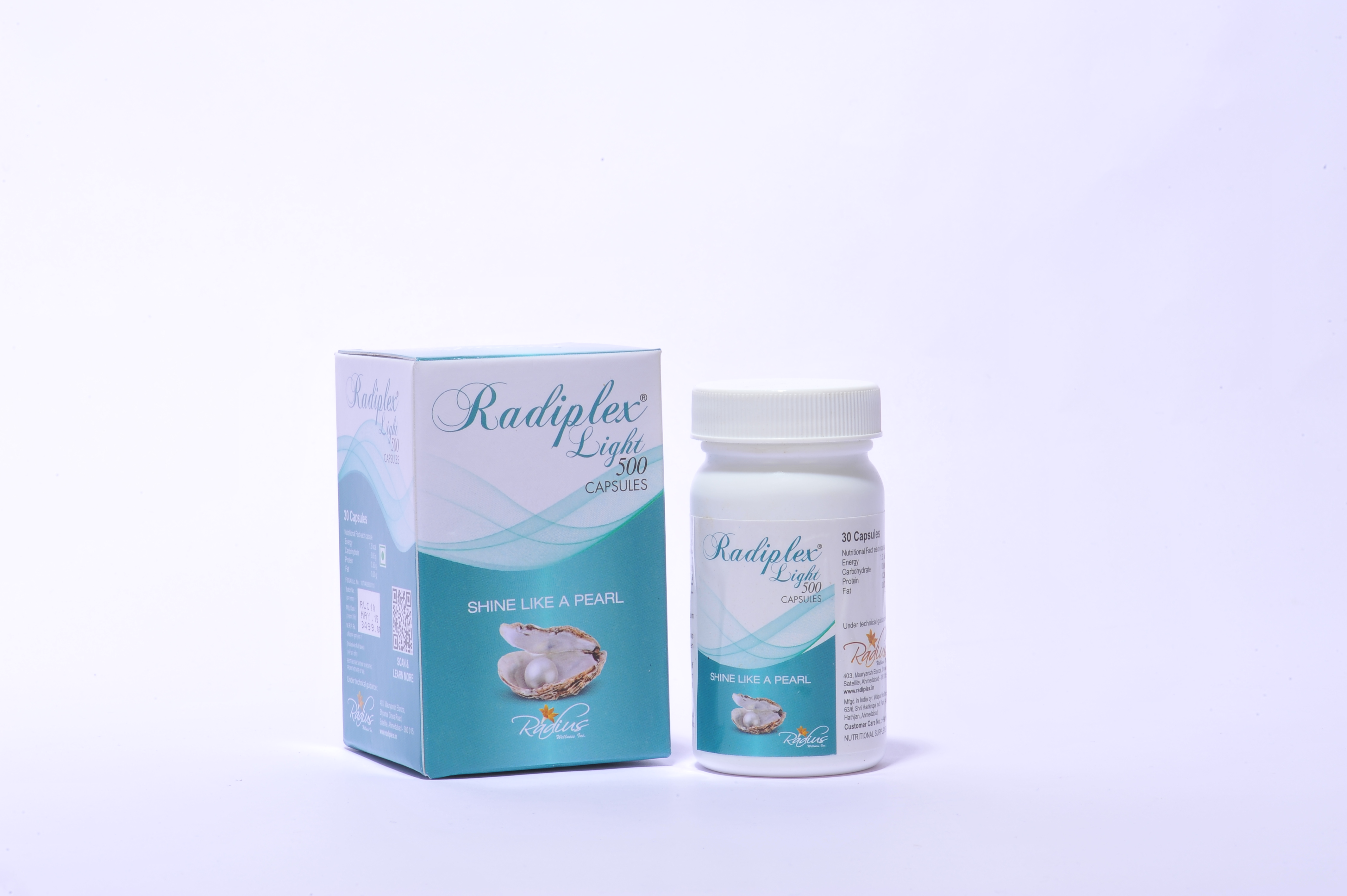 Radiplex Light 500mg capsules for skin lightening and whitening.  For more information http://www.radiplex.in/?page=product-detail& iProdId=18