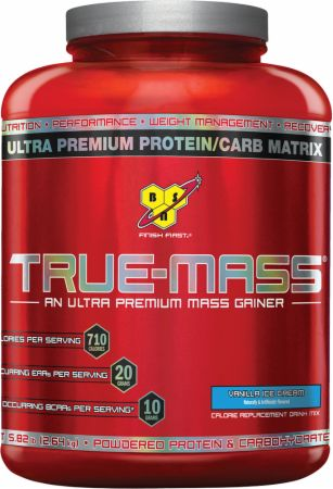 TRUE-MASS is an ultra-premium Lean Mass Gainer, designed to support Muscle Growth and muscle recovery for athletes with above normal caloric needs. The formula behind TRUE-MASS features a 2-to-1 ratio of workout-fueling carbohydrates to Muscle Building Protein, with 90 grams of carbs per serving and 50 grams of protein at 700 calories. Plus, we included 6 grams of dietary fiber per serving and Medium Chain Triglycerides to round out the nutritional value of each shake and complement BSNs legendary great taste. Used post-workout, between meals and/or before bed, TRUE-MASS can fuel your recovery from heavy training while providing the nutrients your body needs to keep on Building Muscle.