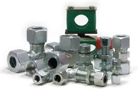 Stud Couplings with Nut & Ferrule / Nut & Weld Nipple   Tube Connectors : Straight Coupling , Equal Elbow, Equal Tee, Equal Cross.     Straight Bulk Head Coupling, Bulk Head Elbow.  Male Stud Connectors : Parallel Male Stud Coupling , Taper Male Stud Coupling ,     Parallel Male Stud Elbow, Taper Male Stud Elbow,    Parallel Male Stud Tee, Taper Male Stud Tee,  Swivel Fitting : Swivel Elbow , Swivel Elbow Connector, Swivel Tee,    Swivel Tee Connector, Swivel Banjo Connector.  Female Stud Fittings  : Parallel Female stud Coupling, Female Elbow Connector,     Female Tee Connector , Pressure Gauge Adaptors ,  Reducers , Adaptors : Straight Reducing Couplings , Reducing Elbow, Reducing Tee, Male Female Reducers.  Plugs & Adaptors : Hex Head Plugs, Socket Head Plug, Hose Adaptors, .  Pipe Clamps  : Polypropylene, Polyamide & Aluminum (Standard & Heavy Series).  Quick disconnect couplings : Quick release couplings - SS & MS, Camlock couplings- SS          1 Fittings supplied as per International Specification Din 2353.   2 Fittings supplied in CS & SS (304, 316 etc.)   3 Fittings supplied for different pressure applications :  4 Series L for SPM, Machine tool industries, Hydraulic return line and other low & medium pressure applications.   5 Series S for applications like Ship building, Mining, Steel plants, Aviation Industries , power plant, DG set & other high pressure lines.  6 Flareless Bite Type Fittings (Ferrule Fittings).  7 Fittings supplied with weld nipple for High pressure applications.  8 Fittings of non-standard range can be supplied as per customers' requirements & drawings.      Types of Fittings  Straight Fittings / Equal Elbow Fittings / Equal Tee Fittings / Equal Cross Fittings / Straight Reducer Fittings / Tee Reducer Fittings / Straight Bulkhead  Fittings / Bulkhead Elbow Fittings / Weld Bulkhead Fittings / Straight Male Stud Fittings / Male Stud Elbow Fittings / Straight Female Stud Fittings / Pressure Gauge Fittings / Pressure Gauge Fittings with Sw