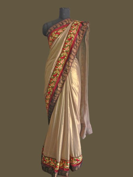 Georgette Shimmer Saree - by Sri Pooja Boutique, Hyderabad