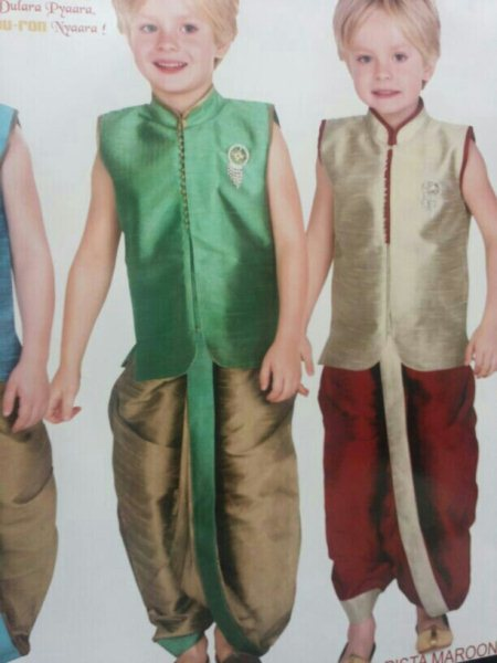 dhoti kurta in vibrant bright colours - by Benchmarks by Kushals, Hyderabad