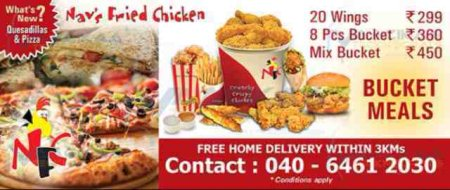 Exclusive chicken bucket meals for whole family  - by Navs fried chicken, Hyderabad