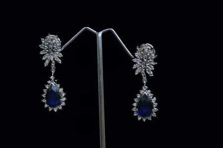 92.5% Sterling Silver Earrings with Iolite stone, rhodium plated - by INDUS - Fashion, Accessories, Home, Gurgaon
