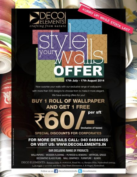 Best WallPapers Dealers for Interiors. - by Deco Elements, Hyderabad