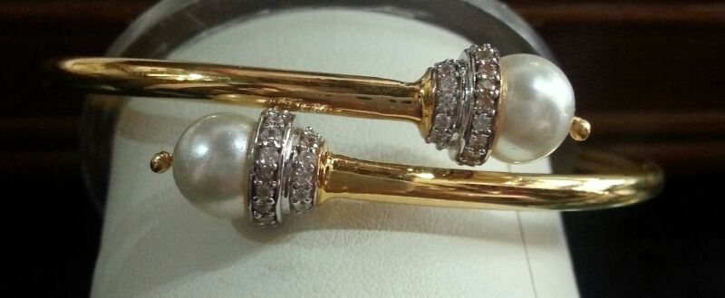 Pearl and diamond overlap bangle in 18K gold.  - by INDUS - Fashion, Accessories, Home, Gurgaon