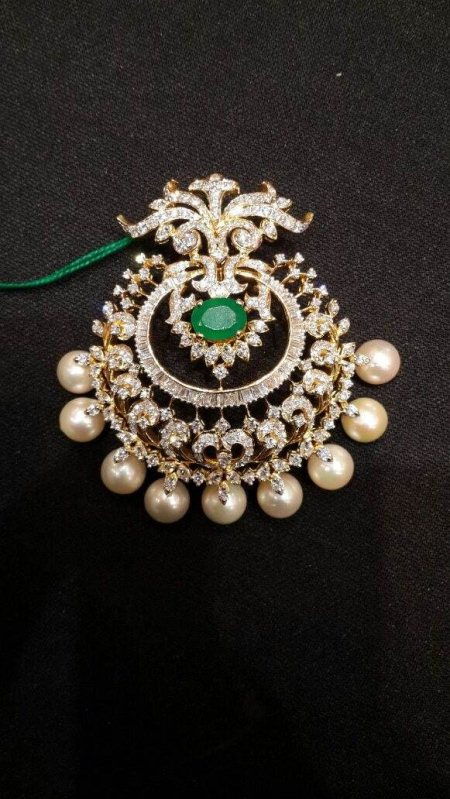 Varalaxmi Vratham Special Designer Diamond Pendent With South Sea Pearl With Changable Colour Stones. - by Sri Bhavani Jewels, Wardha