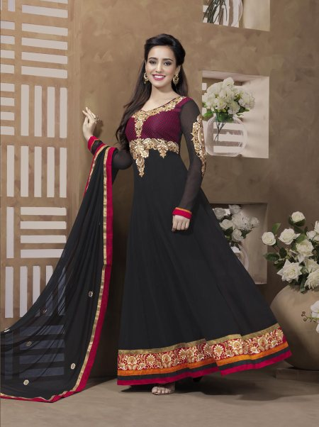 Neha Sharma Anarkali Suit in Pure Georgette and Chiffon Dupatta with embroidery and lace detailing. Buy online at http://bit.ly/1oqRORJ For further queries call/whatsapp at 09566176703 or email at sales@hayacreations.com  - by HAYA CREATIONS, Chennai