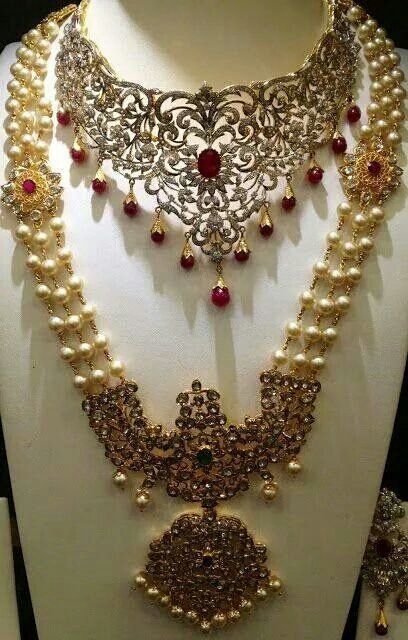 Stone necklace and haram moti sets in 91.6 hallmark. - by Tirupati jewellers, Hyderabad