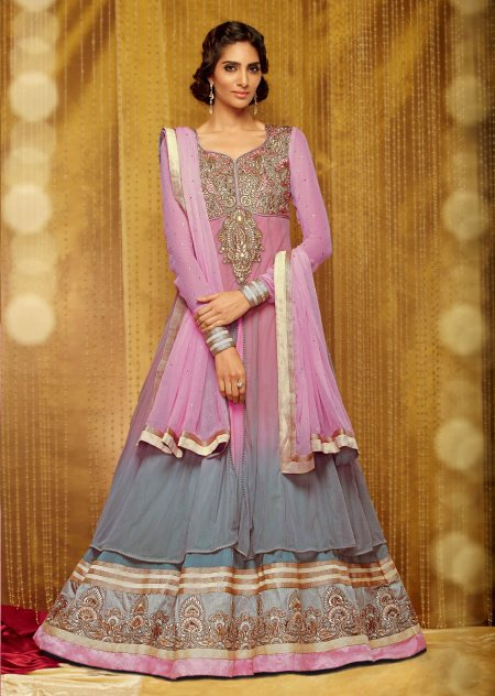 Kimora Festive Queen Anarkali Suit in double layered grey to pink ombre. Gold and silver embroidery on the yoke. Borders enhanced with detailed laces. Pink chiffon dupatta. Buy online at http://bit.ly/1p14mnI For further queries call/whatsa - by HAYA CREATIONS, Chennai