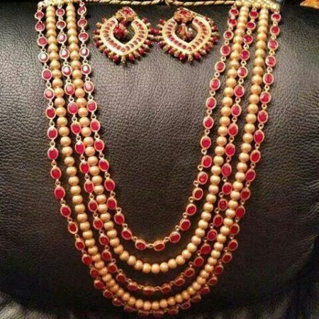Semi precious ruby & golden magmala - by Suryavanshi jewellery, Ahmedabad
