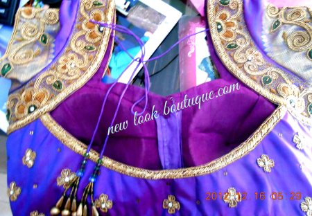 ELEGANT ANTIC FINISH EMBROIDERY WITH ZARDOZI AND ANTIC GOLD BEEDS WORK FOR A BRIDAL ...FINISHING OF THE WORK AND THE BLOUSE  IS THE UNIQUENESS OF OUR NEW LOOK BOUTIQUE.. - by NEW LOOK BOUTIQUE, Bangalore