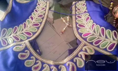 Designer bridal blouse..elegant shoulder filled with hand embroidery... - by NEW LOOK BOUTIQUE, Bangalore
