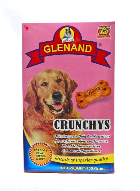 CRUNCHYS BISCUITS 700gm Crisp, crunchy, bone shaped biscuits, made  with real meat and liver. No added flavours  or preservatives.  - by Glenand Pet Store - Indira Nagar, Bangalore