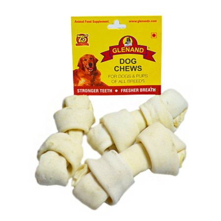 Glenand brand, Single sheet of hygienically processed rawhide knotted in the ends.3 in 1 knotted bone  - by Glenand Pet Store - Indira Nagar, Bangalore