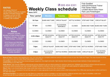 Weekly timetable - by B-Fit, Kildare