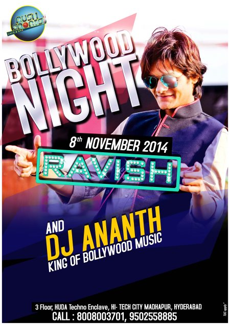 BOLLYWOOD NIGHT WITH DJ RAVISH CoMe AnD ExPeRiEnCe ThE jOuRnEy Of FilMi BeAtS fRoM 80's to 2014, AlL nEw HiGh EnErGy DeSi BeAtS All NiGhT lOnG WiTh GuEsT DJ tOnIgHt FrOm PINK CITY JAIPUR DJ RAVISH ALONG WITH IN HOUSE DJ ANANT PLAYING ALL YO - by Rush Sports Cafe & Bar, Hyderabad