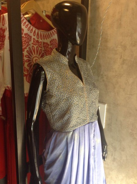 Dhoti style Satin silk material, batik print with hand embroidery. - by Aahanas Designer Studio, Ahmedabad