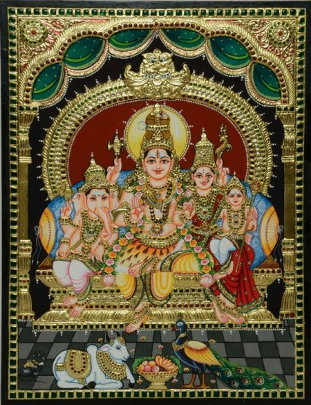 Lord Shiva in Tanjore painting is a favourite choice among his devotees. Shiva the destroyer of evils and the bestower of boons to his true devotees is seated with his family. This piece has been exclusively designed by Kum Kum Gallery to b - by Kum Kum Gallery, Bangalore