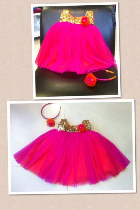 Pink n orange frock for 3 months old with hairband - by Aakarshana, Hyderabad