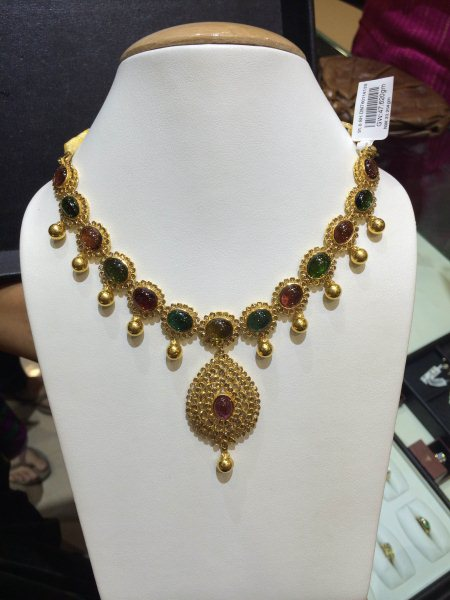 A colorful and youthful Necklace studded with uncut diamonds and Tourmalines. - by Karigar Gold , mysore