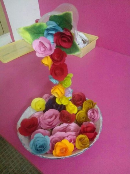 Straw, disposable cup and color papers. - by Art N Craft, vellore