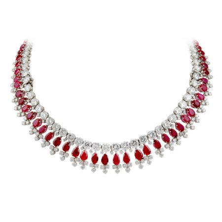 A Beautiful Fancy Necklace Studded With Round Diamonds With Excellent Combination Of Pear Shaped Rubies. - by Kuberz Diamondz, Hyderabad