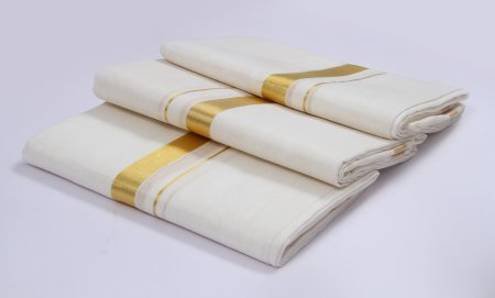 COTTON/LINEN DHOTI- made of fine quality linen and cotton yarn. - by Bj India Associates, Ernakulam