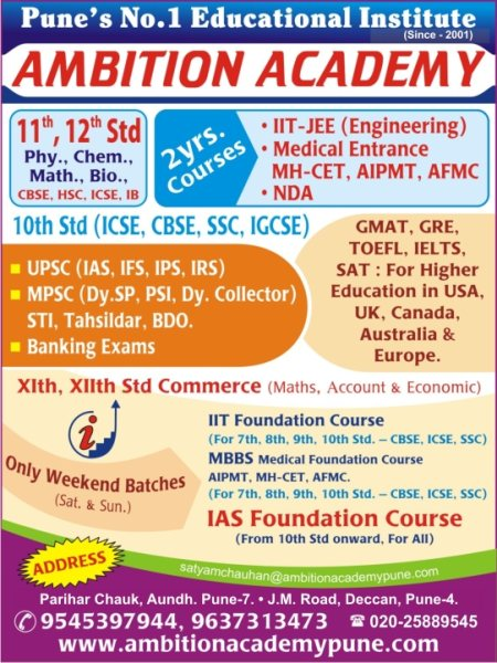 Pune No. 1 Educational Institute (Since 2001) - by Ambition Academy, Pune