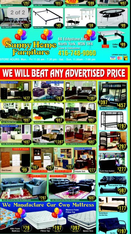 New flyer - by Sunny Home Furniture, Northyork